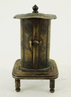 Antique Japanese Meiji Miniature Bronze Zushi Shrine w Carved Wood Deity Figure