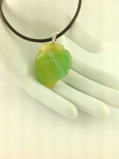 Fused Glass Green Yellow Abstract Art Pendant on A  Leather Cord Necklace      Hand Crafted Jewelry