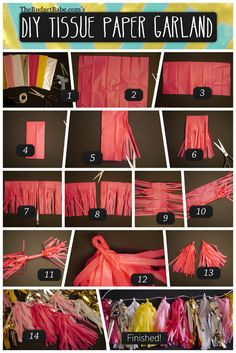 DIY Tissue Paper Tassel Garland - Could also be done w fabric