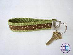 Green Mini Polka Dot Ribbon Keychain by DeBoopShop on Etsy, $7.00