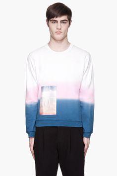 RAF SIMONS Pink and blue ombre satin landscape patch sweatshirt