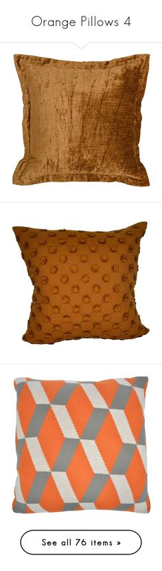 """Orange Pillows 4"" by lailoooo ❤ liked on Polyvore featuring home, home decor, throw pillows, pillows, peach throw pillows, villa home collection, textured throw pillows, brown, polka dot home decor and patterned throw pillows"