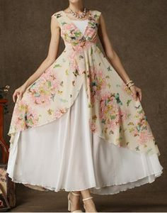 Stylish Square Neck Butterfly Floral Print Sleeveless Women's Maxi DressMaxi Dresses   RoseGal.com