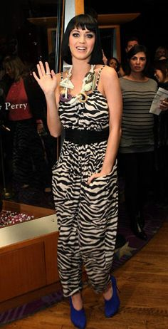Katy Perry's  February 2009 -February 2009 A walk on the wild side! The star rocked a zebra-print jumpsuit at the Hard Rock Hotel & Casino in Las Vegas.