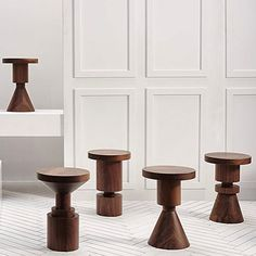 wooden stools, wooden side tables. turned geometrics at icff 2015 anna karlin studio via meyerdavis.jpg