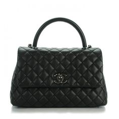 CHANEL Caviar Quilted Small Coco Handle Flap Black ❤ liked on Polyvore featuring bags, handbags, leather handbags, leather tote handbags, handbags totes, quilted leather purse and leather tote bags
