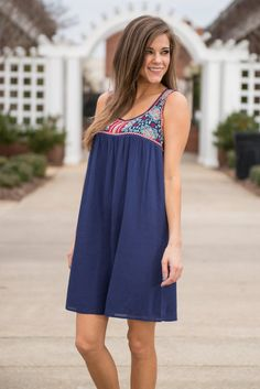 """""""Fun And Done Dress, Navy"""" 