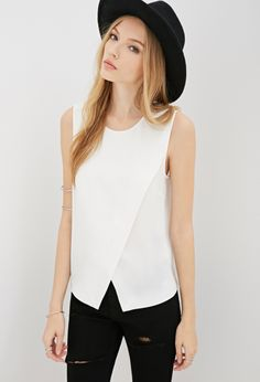 Forever 21 cross over white shell top + ripped jeans and brimmed hat