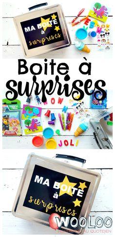 Apprenez comment faire une petite boite à surprises remplis de trucs que vos enfants adorent pour les occuper pendant le voyage, au restaurant ou pendant l'allaitement.