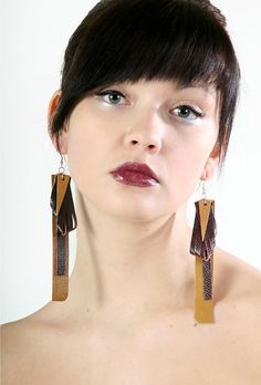 Straight Line earrings from recycled leather by PiiaMyllerDesign, Recycled Leather, Straight Lines, Recycling, Drop Earrings, Jewellery, Etsy, Design, Jewels, Jewelry Shop