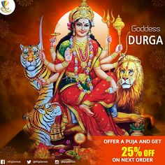 Goddess #Durga is the symbol of supreme woman power or #Nari #shakthi. She represents everything the ideal women should be. Bold, courageous and fights against evil. To offer puja on the occasion of Ugadi / Gudi Padwa click here http://epuja.co.in/gudi-padwa.php