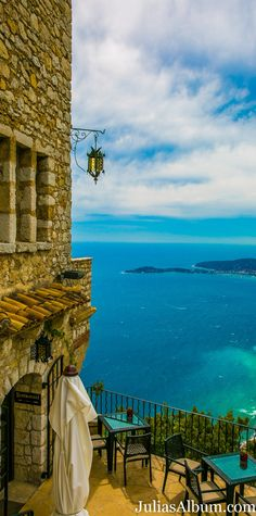 Hilltop medieval village of Eze in the south of France, between Monaco and Nice.  View from Chateau Eza hotel. More photos on JuliasAlbum.com (travel, family vacation ideas)