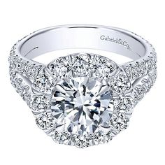 18K White Gold 2cttw Split Shank Halo Diamond Engagement Ring