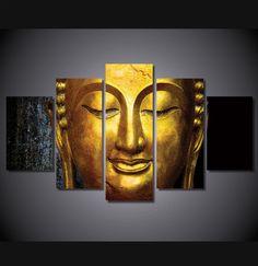 5 Pieces Multi Panel Modern Home Decor Framed Golden Buddha Wall Canvas Art Buddha Artwork, Buddha Wall Art, Wood Wall Art, Canvas Wall Art, Canvas Prints, Art Prints, Budha Painting, Painting Canvas, Buddha Canvas