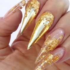 If there is a need to go full-in – do not resist it! Gold metallic nails look lovely especially when combined with the stiletto shape. With nails like these, there is not a chance that you will go unnoticed no matter where you go! Cute Acrylic Nails, Cute Nails, Pretty Nails, Gold Nail Designs, Beautiful Nail Designs, Nails Design, Nail Swag, Perfect Nails, Gorgeous Nails