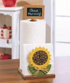 sunflower kitchen decor | ... Sunflower Wood Paper Towel Napkin Holder Chalk Board Kitchen Decor