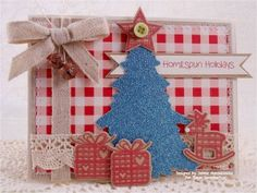 Created using the Homespun Holidays stamp set and  coordinating Homespun Holidays Sweet Cuts die along with Rusty Jingle Bells from www.papersweeties.com!  Designed by Debbie Marcinkiewicz.