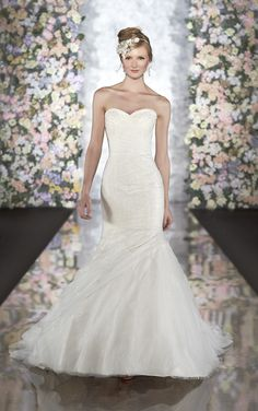 Corded lace over Luxe Taffeta trumpet wedding dress from Martina Liana (Style 464)