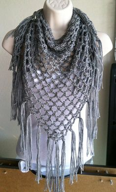 Crochet Mesh Triangle Scarf with Fringe mesh by ConleyCrochets