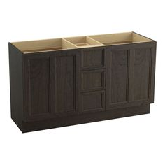 "Damask 60"" Vanity Base with Toe Kick, 2 Doors and 3 Drawers, Split Top Drawer"