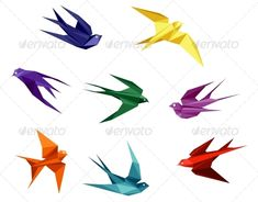 Swallows in Origami Style #GraphicRiver Swallows set in origami style isolated on white background. Editable EPS8 (you can use any vector program) and JPEG (can edit in any graphic editor) files are included SPORTS MASCOTS MEDICINE FOOD LABELS WEDDING DESIGN ELEMENTS FLORAL OBJECTS WEB ICONS ANIMALS Created: 9February13 GraphicsFilesIncluded: JPGImage #VectorEPS Layered: Yes MinimumAdobeCSVersion: CS Tags: abstract #animal #art #artistic #background #bird #color #colorful #concept #creative…