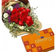Red Roses Bouquet and Celebration Pack.