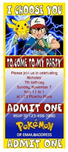 POKEMON Custom Digital File Birthday Party Invitation Printable