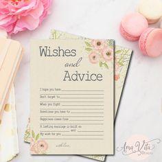 Wishes for Bridal Shower Printable | INSTANT DOWNLOAD | Rustic Floral Bridal Shower Game | Pink Bridal Shower Decoration | Advice for Bride