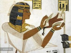 Egypt, Thebes (UNESCO World Heritage List, 1979) - Luxor. Valley of the Kings. Tomb of Prince Mentuherkhepeshef. Mural paintings. Prince offers bird (Dynasty 20, 1186-1070 BC) (KV19 - 330476)