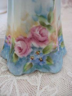 Vintage Porcelain Hand Painted Hat Pin Holder