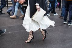 Shop our favorite lace-up heels now // #Fashion #TuesdayShoesday #StreetStyle