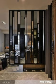 Using vertical lines to create height and varied widths and shades for that little bit of drama Glass Partition Wall, Living Room Partition Design, Partition Screen, Living Room Divider, Room Partition Designs, Interior Design Living Room, Living Room Designs, Interior Decorating, Divider Screen