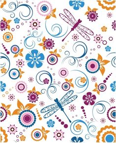 seamless dragonfly floral pattern