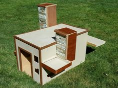 "Falling Water Dog House inspired by Frank Lloyd Wright- ""Food Dish Side"""