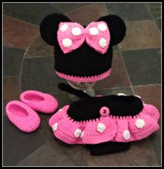 Minnie inspired crochet set - Hat, Diaper Cover/skirt, Shoes SOOOO CUTE Pink Black & White