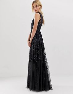 148e44c140a1 Needle   Thread embroidered lace maxi gown with high neck in graphite Prom  Dresses