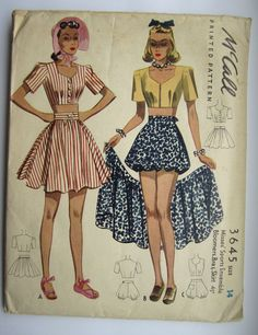 Vintage Sewing Pattern Ladies' Play Suit Bust 32 McCall 3645 - With FREE Pattern Grading E-book Source by momspatterns Kleider 40s Mode, Retro Mode, Vintage Mode, Vintage Outfits, Vintage Dresses, 1950s Dresses, Flapper Dresses, Vintage Clothing, Sport Fashion
