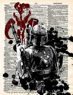 Star Wars Boba Fett Antique Dictionary Print
