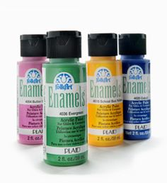 FolkArt Enamels - the ultimate paint for glass and ceramics are highly pigmented and go on rich and creamy in just one step—no prep needed! Great for glass, enamel, tin and other surfaces. #folkart #plaidcrafts #crafting #diy