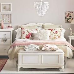 DIY:: Cream and Floral Bedroom decorating ideas  ! by TRENDY N STYLES A bit TOO white/pink/little girly for us, but pretty.