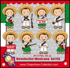 off Mexican Revolution Day Clipart Bundle, Color and Black/White, adelitas, Mexico clipart, Set Mexican Revolution, School Clipart, Mexican Party, Mexican Folk Art, Cartoon Drawings, Illustrations, Printable Wall Art, Paper Dolls, Coloring Pages