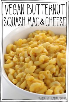 Vegan butternut squash mac and cheese is gorgeously creamy, rich, and cheesy tasting. Just 9 ingredients and 30 minutes to make, this healthy pasta is the perfect easy to make dish to enjoy during squash season! #itdoesnttastelikechicken #veganrecipes Vegan Cheese Recipes, Vegan Mac And Cheese, Vegan Dinner Recipes, Vegan Dinners, Lunch Recipes, Pasta Recipes, Mac Cheese, Top Recipes, Vegetarian Recipes