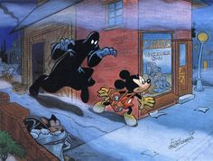 Mickey Mouse by Floyd Gottfredson - painting from the period 1978-83. Gottfredson did the Mickey comic book stories to end all Mickey stories a few decades earlier.