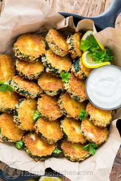 Crisp Zucchini Bites with Garlic Aioli Dip (you have to try these!) @natashaskitchen