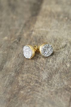 Silver and Gold Druzy Studs, 10mm Druzy Earrings, Silver Gold Sparkle Posts, Silver Druzy Earrings, Glitter Studs