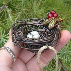 Bird Nest Wire Wrapped Christmas Ornament by TotallyCrosses