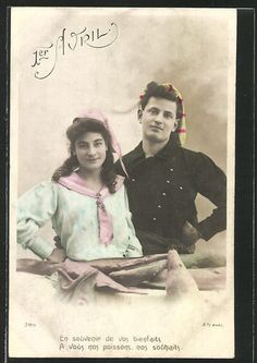 Hand tinted Edwardian April 1st postcard from 1906. #vintage #April_Fools_Day #fish #couple