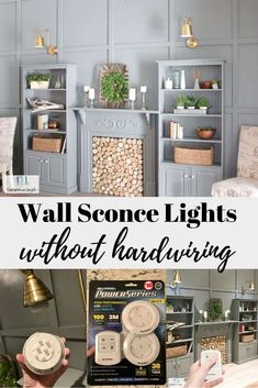Wall Sconce Lights with Power from a Puck Light. Learn how to install working wall sconces WITHOUT having to hardwire them. This simple trick to use a puck light inside a wall sconce is so easy. Farmhouse Lighting, Rustic Lighting, Wall Sconce Lighting, Wall Sconces, Lighting Ideas, Puck Lights, Wall Lights, Blue Feature Wall, Wireless Wall Sconce