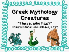This is an I Have, Who has game for the mythical creatures that often appear in Greek Mythology.  Included in the pack are the Minotaur, the Sirens, and Hydra among others.   This would be a great way for students to learn the basic characteristics of each creature.