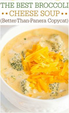 The Best Broccoli Cheese Soup (Better-Than-Panera Copycat) - Make the best soup of your life at home in 1 hour! Beyond words amazing! The Best Broccoli Cheese Soup (Better-Than-Panera Copycat) Tara Mahl taramahl Food! The Best Broccoli Cheese Sou Best Broccoli Cheese Soup, Cheddar Broccoli Soup, Brocolli Cheese Soup Panera, Chicken Broccoli Soup, Easy Brocolli Cheese Soup, Broccoli Soup Recipes, Cream Of Broccoli Soup Panera Recipe, Chicken Recipes, Homemade Broccoli Cheese Soup Recipe